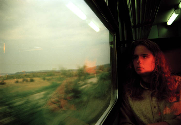 Last of the evening sun. On a train back to Regensburg, 1994