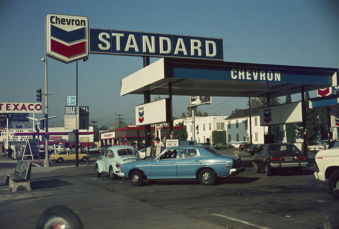 Chevron Station, La Brea, LA, early 1970s, Unknown Photographer